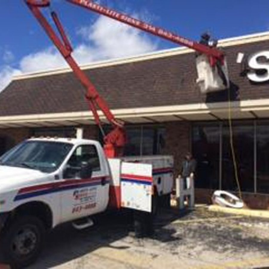 In this photo from the Sappington-Concord Historical Society, the Johnny's sign is removed after Lindbergh Schools bought the former grocery store last spring.