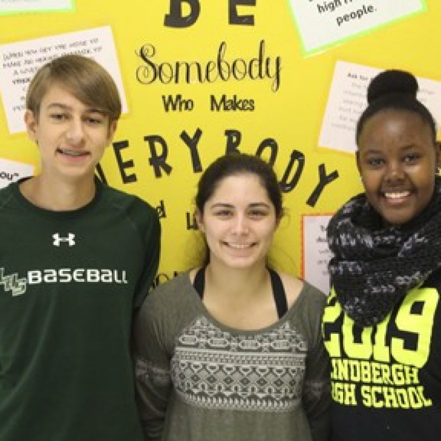 Lindbergh High School sophomores, from left, Evan Moss, Alexis Klosterman and Jessica Umulisa recently reported their findings from an archaeological dig at Sappington House.