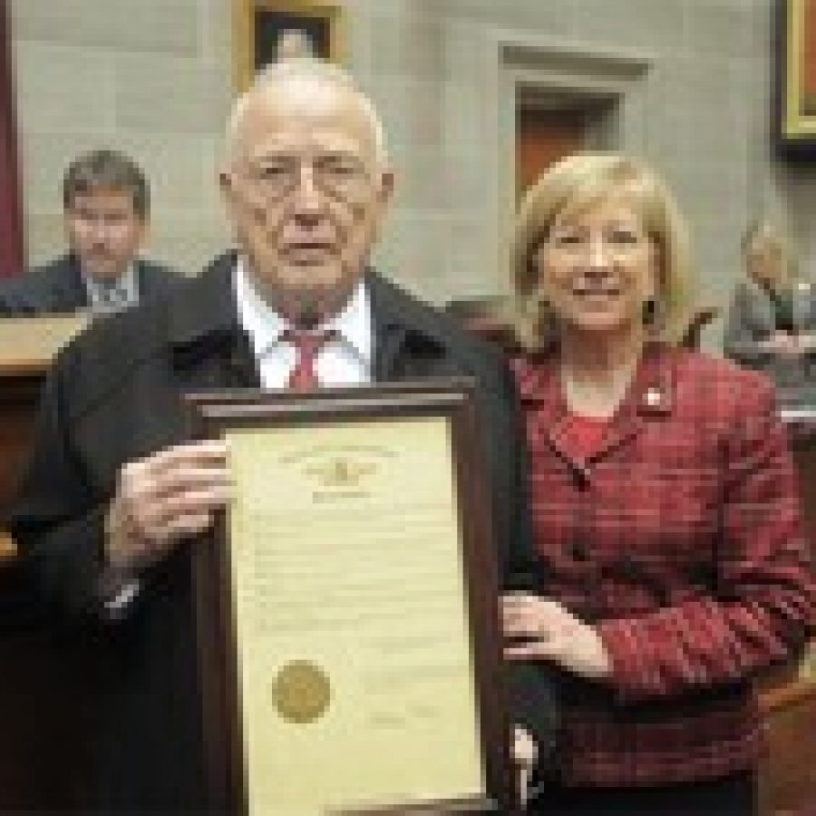 Dr. Benjamin L. Guzdial is shown with Rep. Marsha Haefner on the floor of the House of Representatives.