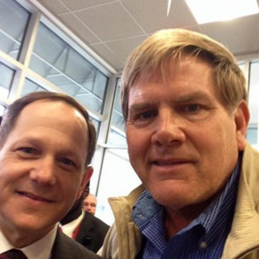 Sunset Hills Mayor Mark Furrer, right, posted a selfie with St. Louis Mayor Francis Slay following Furrer's KMOX appearance.