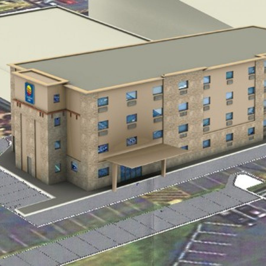 Above, a rendering of a proposed four-story Comfort Inn at the site of the current Days Inn in Sunset Hills presented to the city by Days Inn owner HR Sheevam.