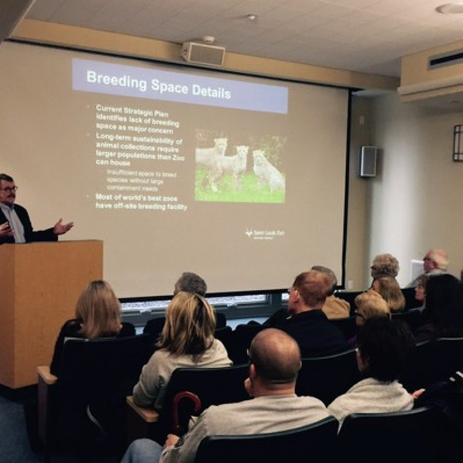 St. Louis Zoo Executive Director Jeffrey Bonner presents the zoo's proposal for Grant's Farm to Grantwood Village residents Saturday.