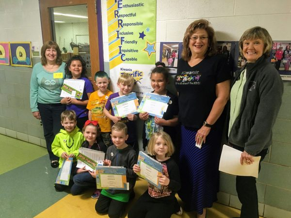 The Gravois Kiwanis honored Terrific Kids at Mesnier Primary in March 2017. Pictured, front row, from left, are: Front row – Jackson Foy, Summer Nehring, Sam Buckwalter, Sophia Scuzzo. Back row – Ann Fritsch, Leila Hantal, Cayden Mix, Kaleb Moran, Dijiah Towels, Carla O'Brien, Lori Leupold.