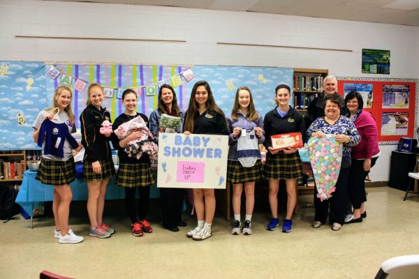 Pictured, left to right: Ashley Hummert, Meredith Meyer, Allison Maschoff, Annette Torno, Maggie Federhofer, Emma Hopfer, Meghan Acheson, Debbie Weltmer (Key Club advisor), Don Leupold (Gravois Kiwanis), Deborah Davis (Key Club advisor).