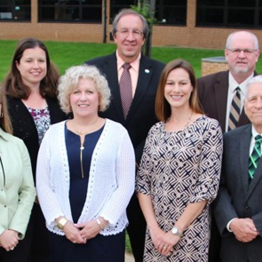 Lindbergh Board of Education members, front row, from left, are: Secretary Karen Schuster, President Kathy Kienstra, Jennifer Miller and Vice President Don Bee. Back row, from left, are: Treasurer Vicki England, Gary Ujka and Mike Tsichlis.