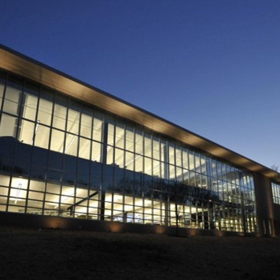The Grant's View County Library at night.
