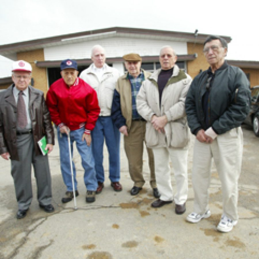 These retired Mehlville Fire Protection District employees who served at Engine House No. 1  took a final look inside the building last Friday. They have a combined 200 years of service to south county. Pictured, from left, are: retired Chief Clifford Zelch, Richard Ems, Robert Hipp, Ray Guhe, Tony Lucas and Joe Fiordimondo.