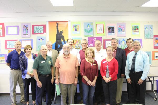 Several former Lindbergh Schools Board of Education members conversed with current board members and district administrators at a luncheon on Oct. 8. Attendees included (back row, left to right) Donovan Larson, Janine Fabick, Phil Carlock, Mark Rudoff, Ken Fey, Dr. Vic Lenz, Barry Cooper, Larry McIntosh, Frank Gregory, (front row, left to right) Vice President Don Bee, William Held, Director Kate Holloway, and Secretary Karen Schuster.