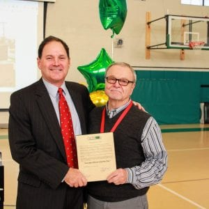 Crestwood acting Mayor Tony Kennedy presents Concord Elementary School volunteer Steve Ippolito with a proclamation declaring Nov. 20 'Grandpa Steven Ippolito Day,' in honor of the Crestwood resident's service to the community