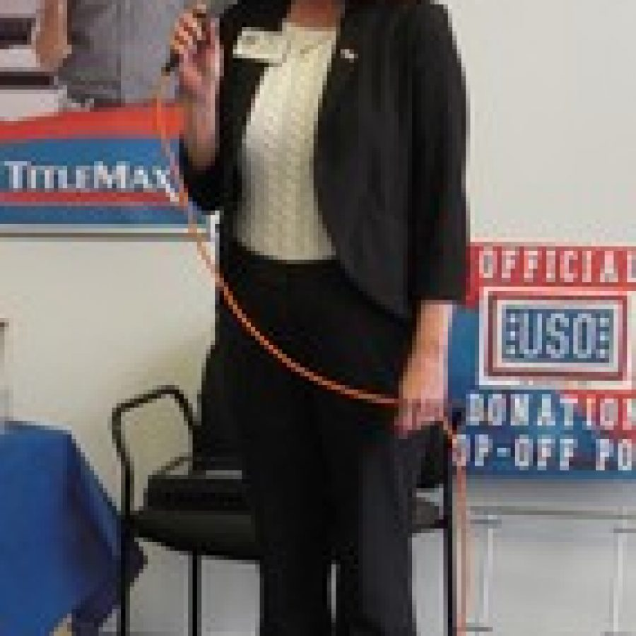 TitleMax General Manager Pat Dillon addresses the crowd after her business was honored by the USO of Missouri.
