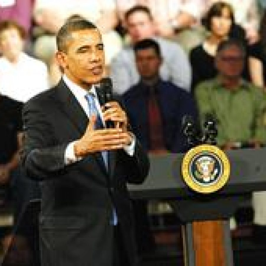 President Barack Obama makes a point during last week's town-hall-style meeting at Fox Senior High School.