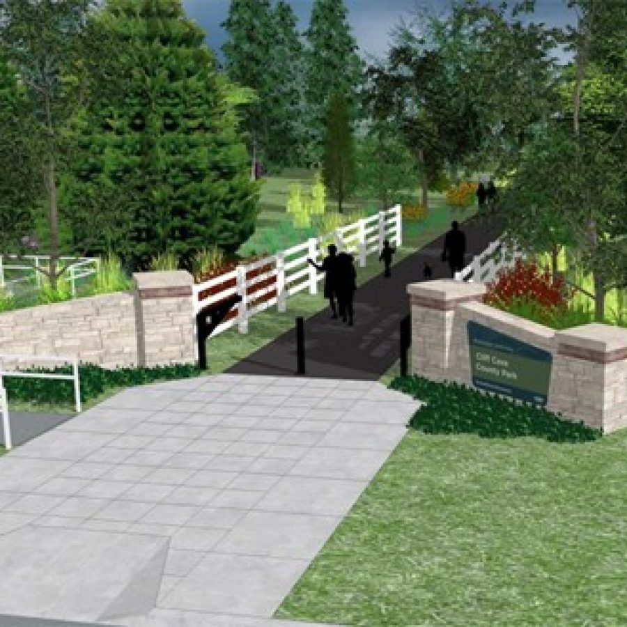 The proposed downsized entrance at Telegraph and Erb, as depicted in a Great Rivers Greenway rendering.