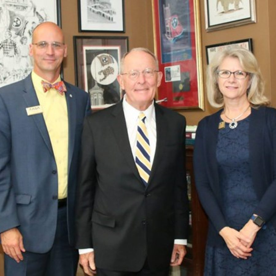 U.S. Sen. Lamar Alexander, R-Tenn., center, meets with Mehlville Superintendent Chris Gaines, left, and current The School Superintendents Association President Gail Pletnick of Arizona to discuss nationwide education issues Congress is considering.