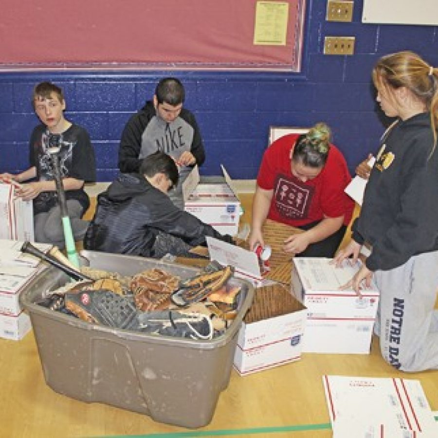 Bernard Middle Schools students started collecting baseball gloves, balls and bats so soldiers stationed in Afghanistan can  enjoy what little recreation time they have.