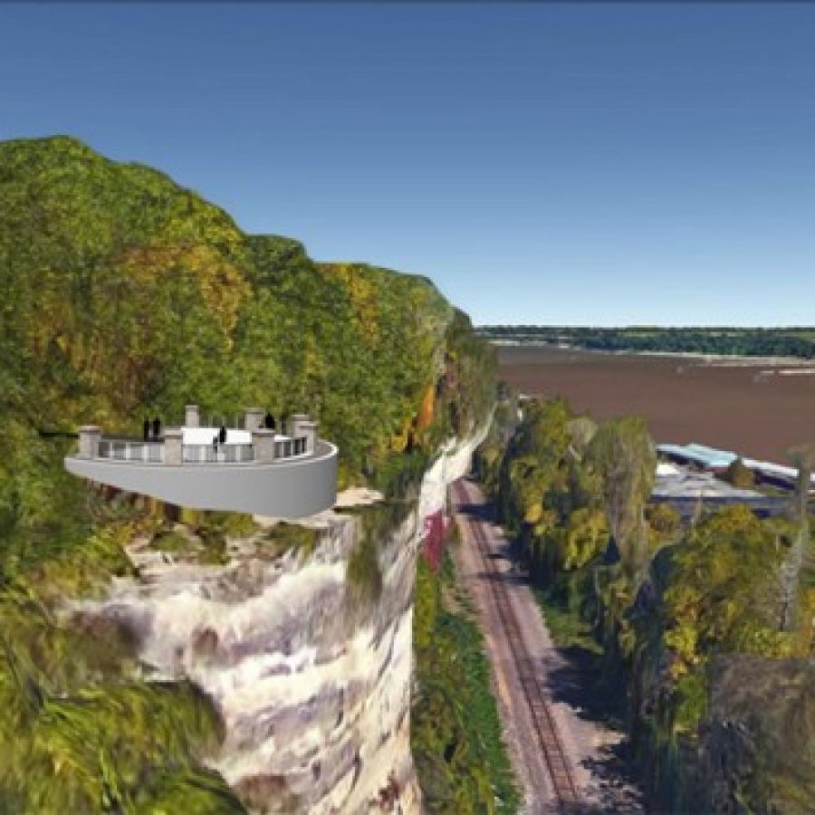 The proposed scenic overlook on the MIssissippi River bluffs, pictured in a rendering above, is still part of the project from Great Rivers Greenway in Cliff Cave Park.