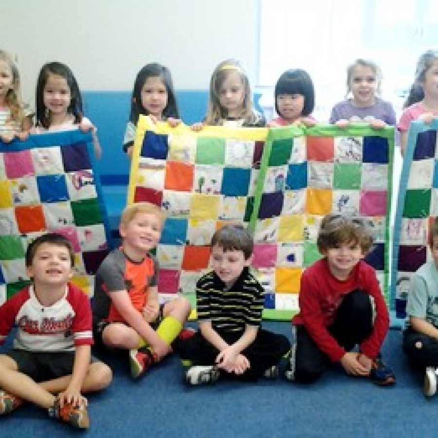Lindbergh ECE Bluebirds make quilts for children with cancer