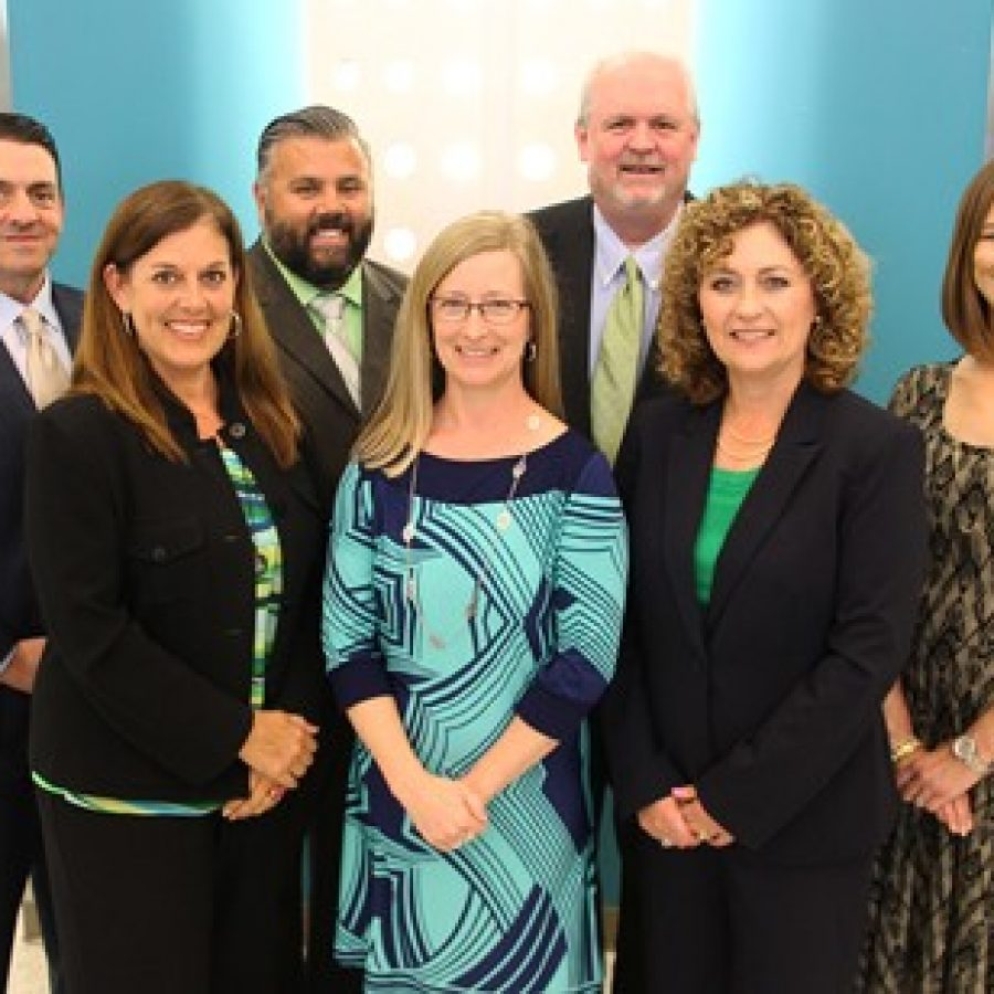 Lindbergh Board of Education members, from left, are: Secretary Mike Shamia, Cathy Carlock Lorenz, Matt Alonzo, President Karen Schuster, Treasurer Mike Tichlis, Christy Watz and Vice President Jennifer Miller.