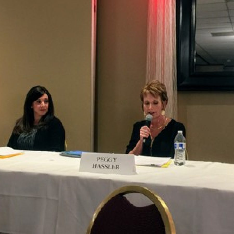All four Mehlville school board candidates appeared at a dual forum with the Mehlville fire board candidates March 22 at Andre's South. Pictured from left are: Jean Pretto, Samantha Stormer, Peggy Hassler and Michelle Pommer.