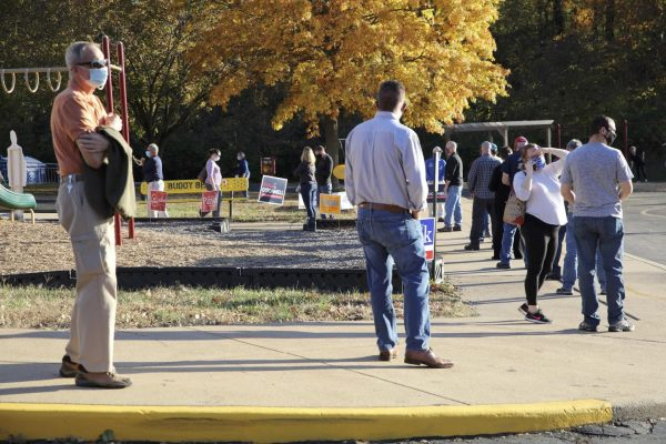 Voters line up to vote at Rogers Elementary in Oakville Tuesday, Nov. 3.