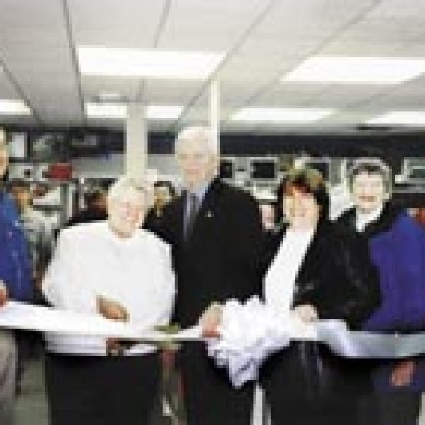 Computer Renaissance had its grand reopening and ribbon cutting on Jan. 10. Helping Jim Russel cut their ribbon from left to right are: Sr. Irene Cline, Notre Dame High School; Major Jim Robertson; Diana Lineberger, Coldwell Banker Gundaker; Pat Duwe, Alderman of Crestwood; and Karen Provance, Crestwood Chamber of Commerce.
