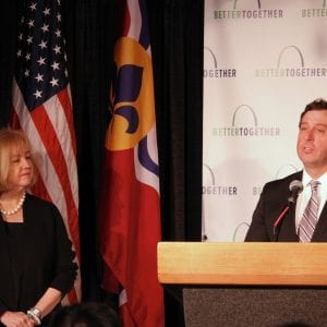 St. Louis city Mayor Lyda Krewson, left, listens to former County Executive Steve Stenger say he supports