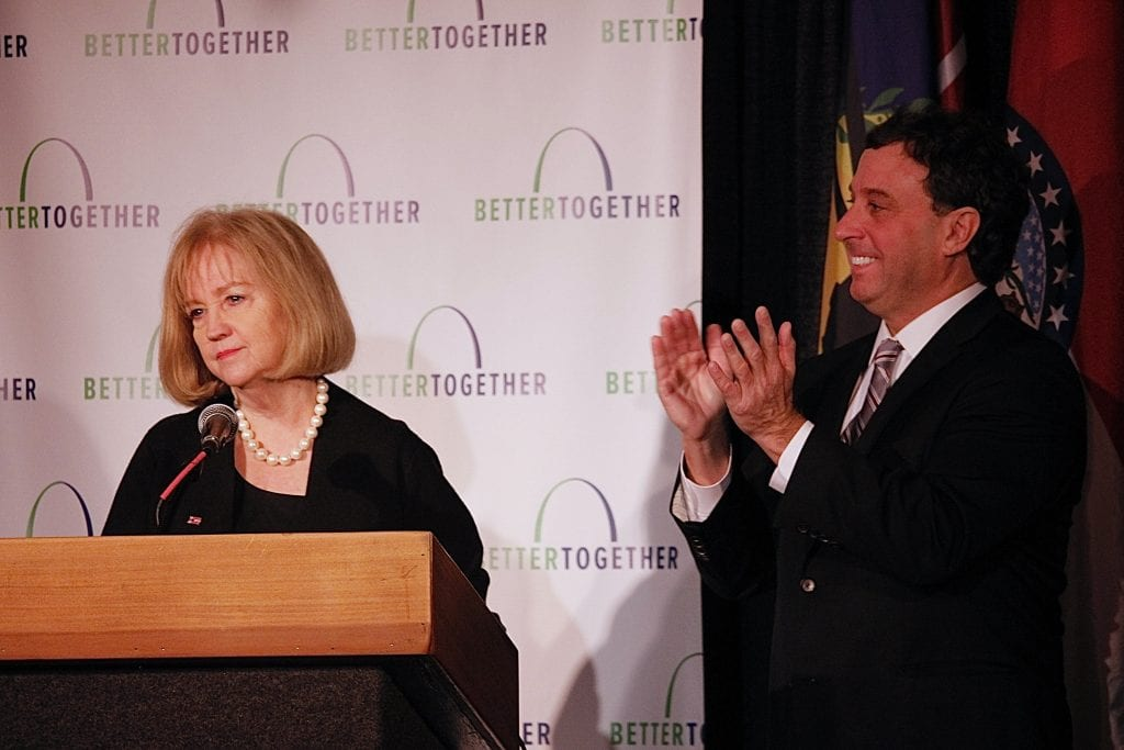 Mayor+Lyda+Krewson+addresses+the+crowd+at+the+Better+Together+rollout%2C+as+County+Executive+Stenger+looks+on.+Photo+by+Erin+Achenbach.