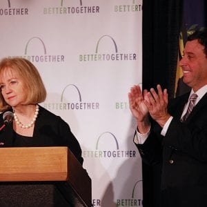Mayor Lyda Krewson addresses the crowd at the Better Together rollout, as County Executive Stenger looks on. Photo by Erin Achenbach.