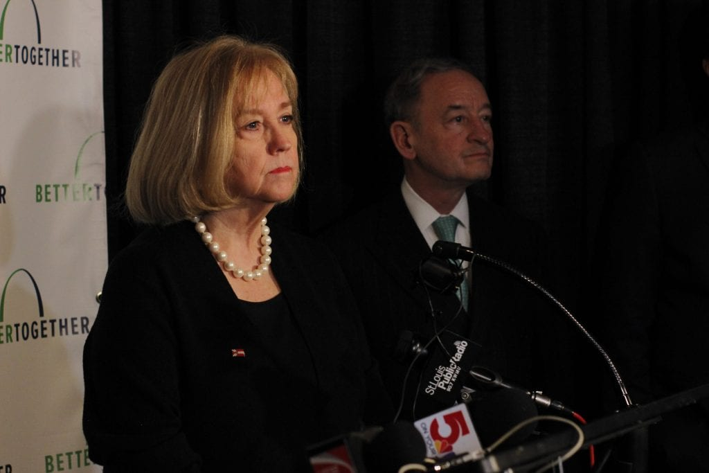 St.+Louis+Mayor+Lyda+Krewson+takes+questions+from+reporters+about+Better+Together+following+the+rollout+Monday%2C+with+Washington+University+Chancellor+mark+Wrighton+behind+her.+Photo+by+Erin+Achenbach.