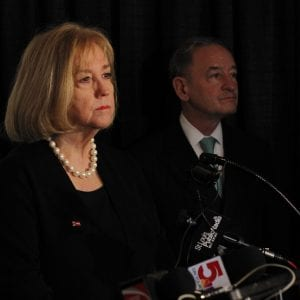 St. Louis Mayor Lyda Krewson takes questions from reporters about Better Together following the rollout Monday, with Washington University Chancellor mark Wrighton behind her. Photo by Erin Achenbach.