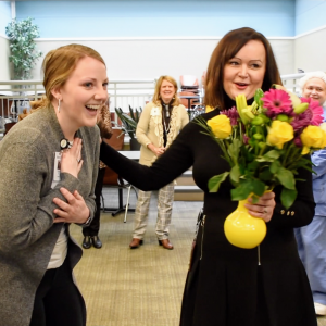 Special School District Superintendent Elizabeth Keenan, above in black, surprises Sarah Nowell with the award for SSD's 2020 Teacher of the Year.