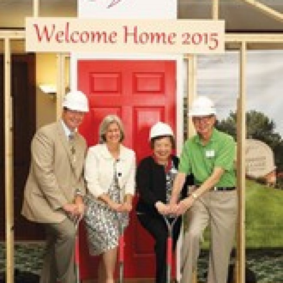 Mike Heselbarth, left, Friendship Village corporate operations director; and Lydia Seibert, second from left, Friendship Village incoming board chairwoman as of July 1; join Martha and John Short, right, in a nontraditional groundbreaking ceremony at Friendship Village Sunset Hills.