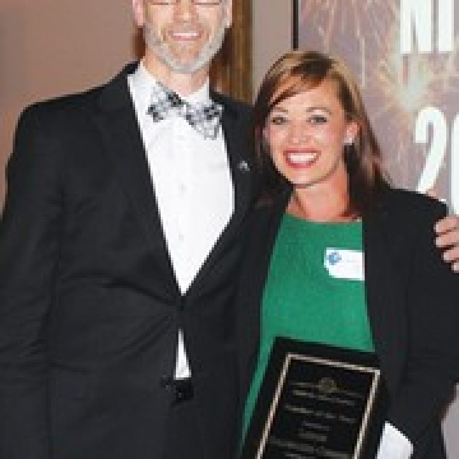 Superintendent Eric Knost is pictured with Lauren Goldwasser-Cumming, the Mehlville School Districts Teacher of the Year for 2013-2014.