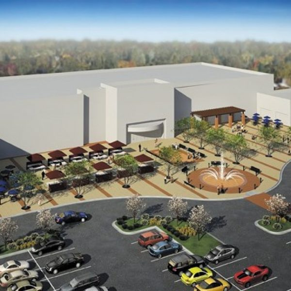 This rendering depicts a community plaza that would anchor the center of the entertainment and destination service retail area proposed by UrbanStreet Group for the former Crestwood Plaza site.
