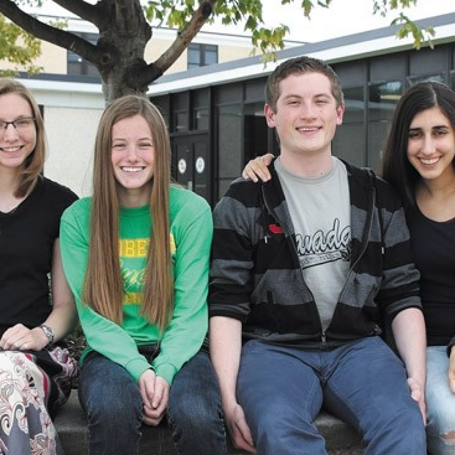 Pictured, from left, are the four Lindbergh Schools National Merit finalists: Emma Powers, Ann Iverson, Nicolas Smart-Rengifo and Parvuna Noory.