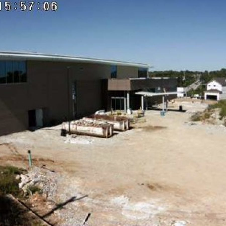 A view of the construction of the Grant's View Branch Library from the library's construction webcam, Aug. 25, 2015.