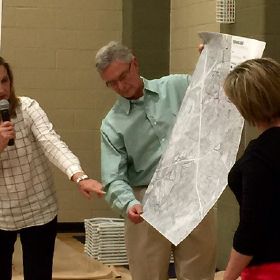 Sunset Hills aldermen present their ideas on what types of development should go where in the city to Houseal Lavigne at a visioning workshop in April. Presenting their ideas are Ward 4 Alderman Pat Fribis, left, and acting board President Tom Musich, center.