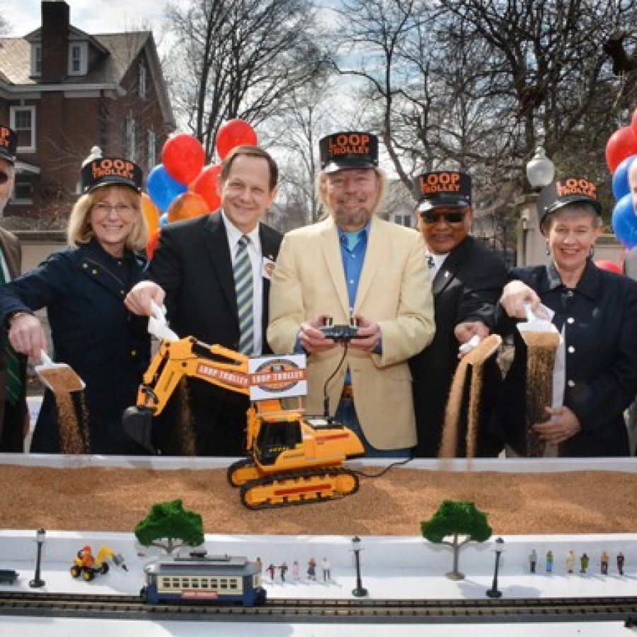 County Executive Steve Stenger did not attend the March 12 groundbreaking for the Loop Trolley. Officials in attendance, from left, were Les Sterman of the Loop Trolley Committee; Susan Trautman, executive director, Great Rivers Greenway; St. Louis Mayor Francis Slay; Joe Edwards; Mokhtee Ahmad, region administrator of Region 7 for the Federal Transit Authority; University City Mayor Shelley Welsch; and Metro CEO John Nations.