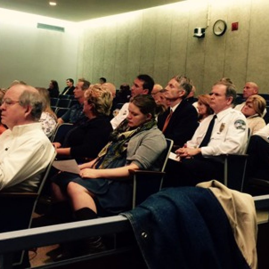Police chiefs packed the County Council Chambers last week, including far left, Sunset Hills Police Chief William LaGrand and middle, Crestwood Deputy Chief Ron Compton.