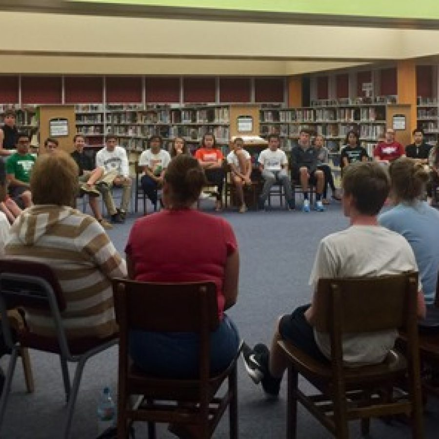 The Mehlville Student Council listens as Board of Education President Venki Palamand answers a question last week. From left in front, board members attending were Secretary Samantha Stormer, Vice President Larry Felton, Palamand, Jean Pretto and Lori Trakas.