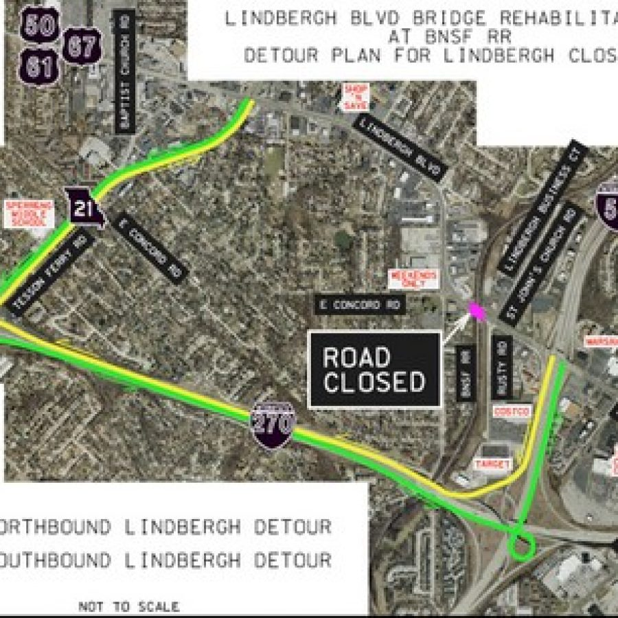 MoDOT's rendering of the official detour around the bridge closure on South Lindbergh Boulevard slated for this summer.