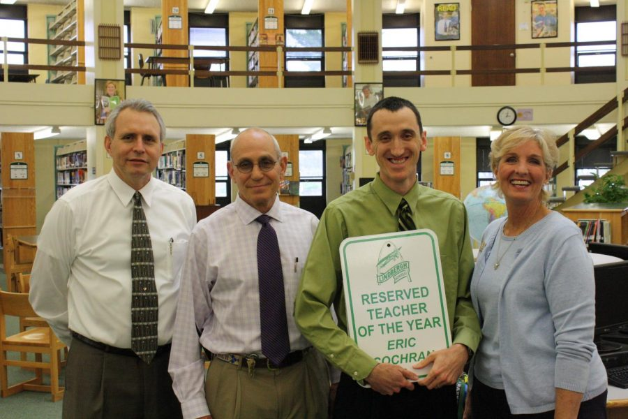 Lindbergh+Schools+2011-12+Teacher+of+the+Year+Eric+Cochran+is+congratulated+by%2C+from+left%2C+Superintendent+Jim+Simpson%2C+Lindbergh+High+School+Principal+Ron+Helms+and+12th-grade+Principal+Pam+Mason.