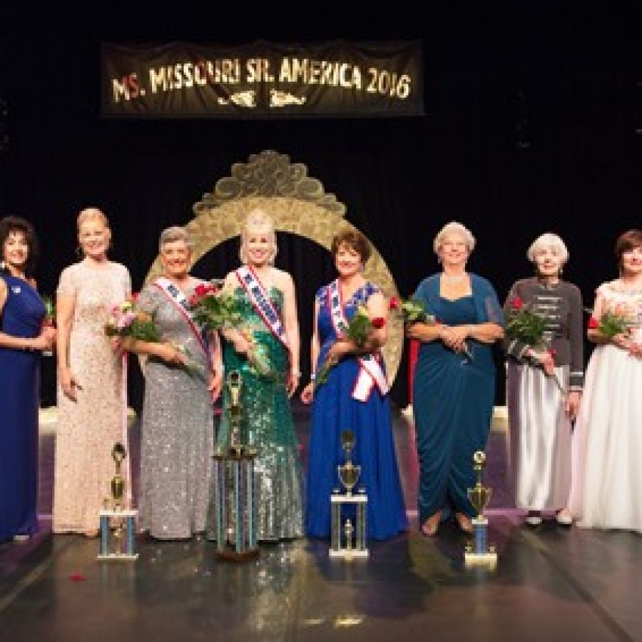 Participants in the 2016 Ms. Missouri Senior America, from left, are: Servisa Croff, Marie Ciarleglio Robertson, Moira McGhee, Linda J. Tiedt, Peggy Lee Brennan, Ann Leath, Mary Kay Spencer, Shirley J. Kamps, Suzanne Carol Pratl and Kathyrn Ryan-Hogan.