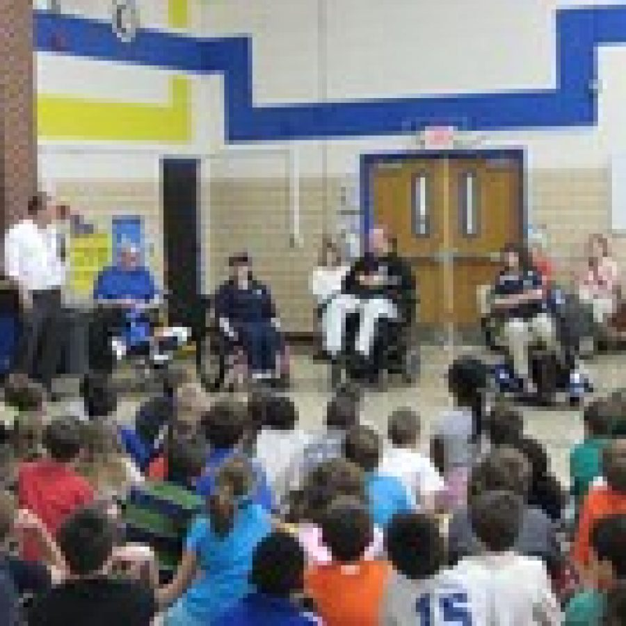 The third-graders at Point Elementary enjoyed a visit from the Paralyzed Veterans of America PVA and veterans from the Spinal Cord Injury Unit at Jefferson Barracks V.A. Medical Center on Wednesday, April 18.