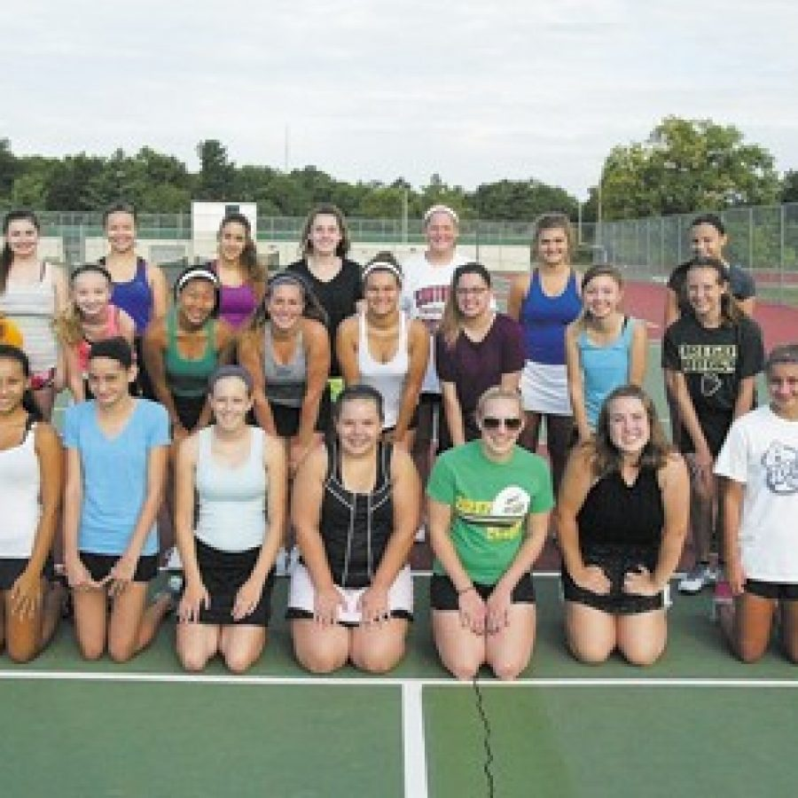 Kat and Alex Rosenberger, who won the state doubles title last year, are re-turning to the Lindbergh High varsity girls' tennis team. Bill Milligan photo