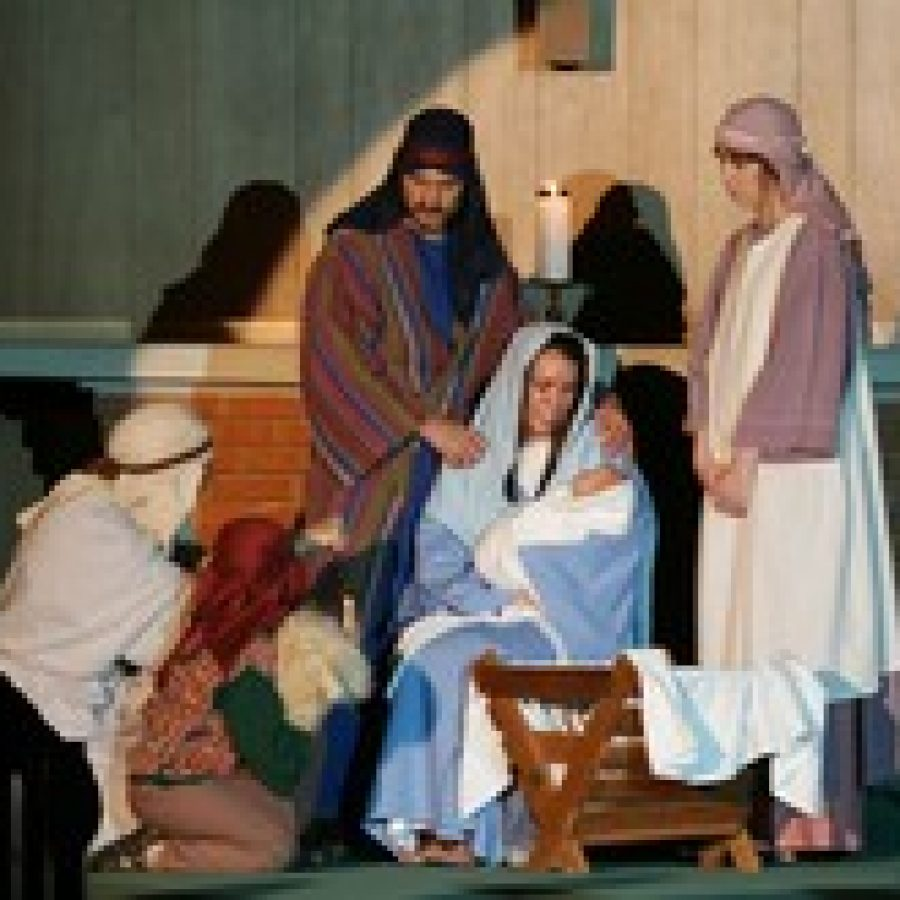 This Nativity scene for Peace Lutheran Church's annual Boar's Head Christmas  Festival shows Joseph, Mary, Jesus and shepherds. This year's event begins Thursday, Nov. 29.