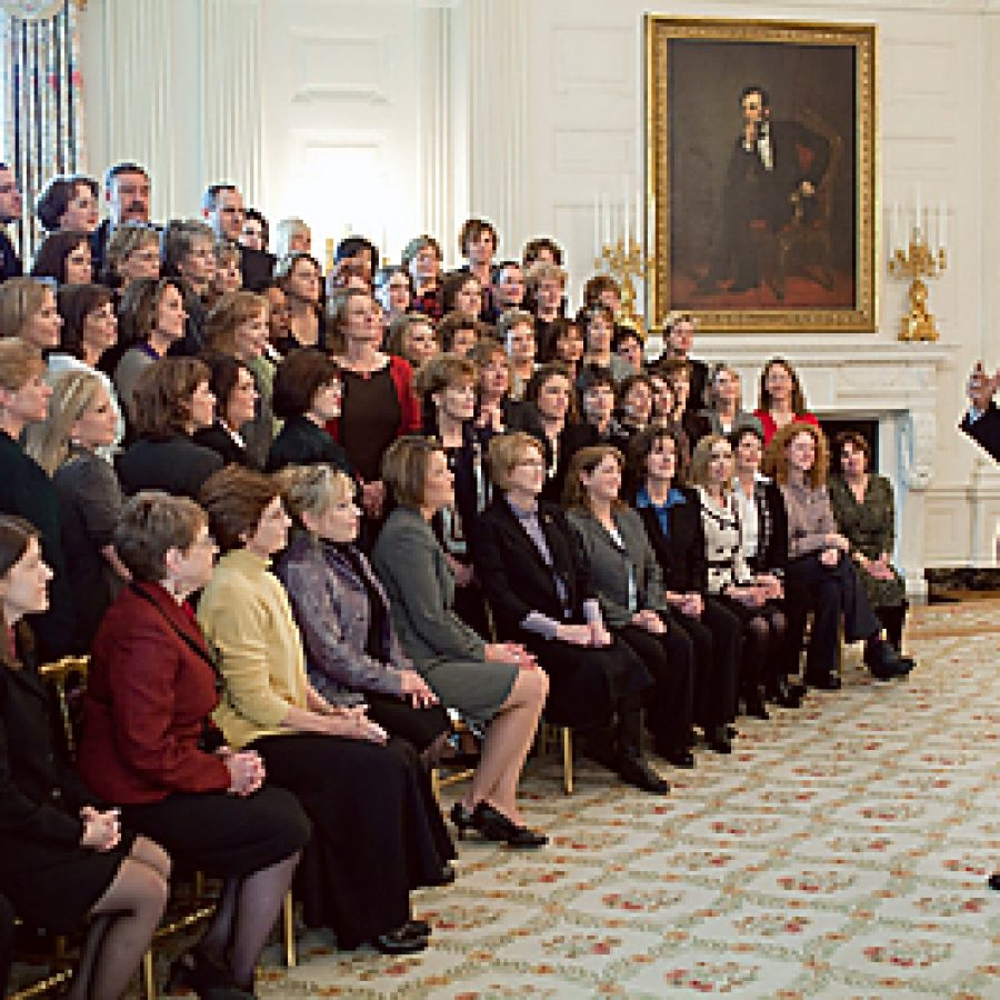 President Barack Obama addresses recipients of the 2009 Presidential Award for Excellence in Mathematics and Science Teaching at the White House on Jan. 6. Mehlville literacy coach Kay Riek is seated in the first row on the far left.