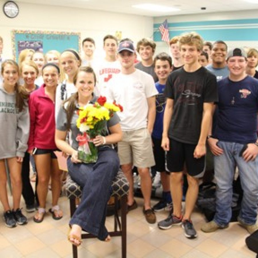 Students, staff and administrators surprised Lindbergh High School English teacher Katie Arens in her classroom this week, announcing her selection as one of seven Missouri Teacher of the Year finalists.