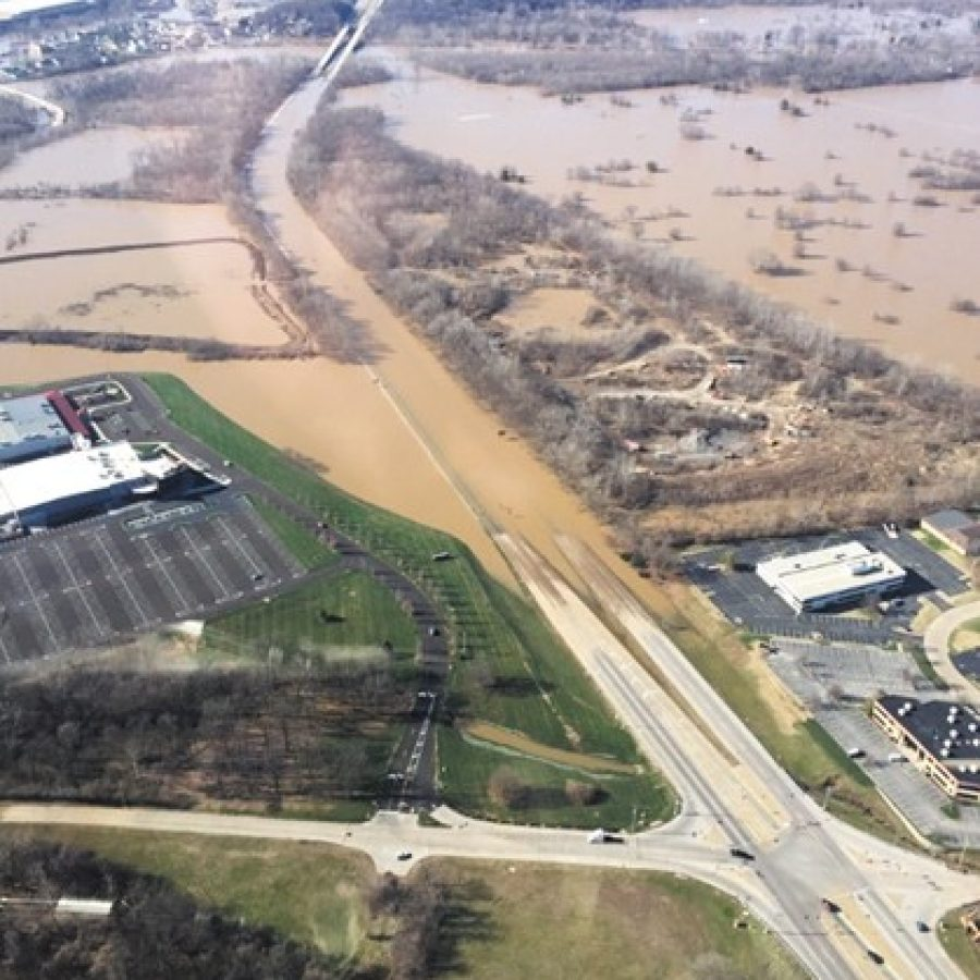 This photo taken by County Executive Steve Stenger from a helicopter shows the flooded intersection of Interstate 44 and Highway 141 as the Meramec reached its record crest last week.