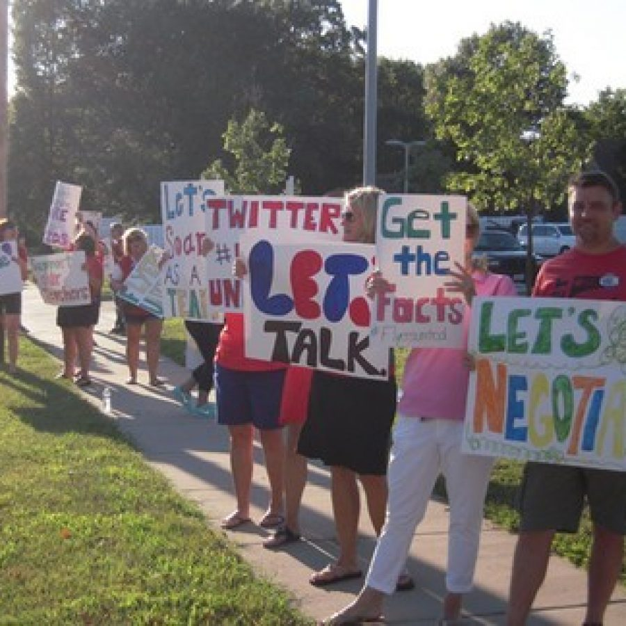 Lindbergh teachers protest their salaries along South Lindbergh Boulevard last year.