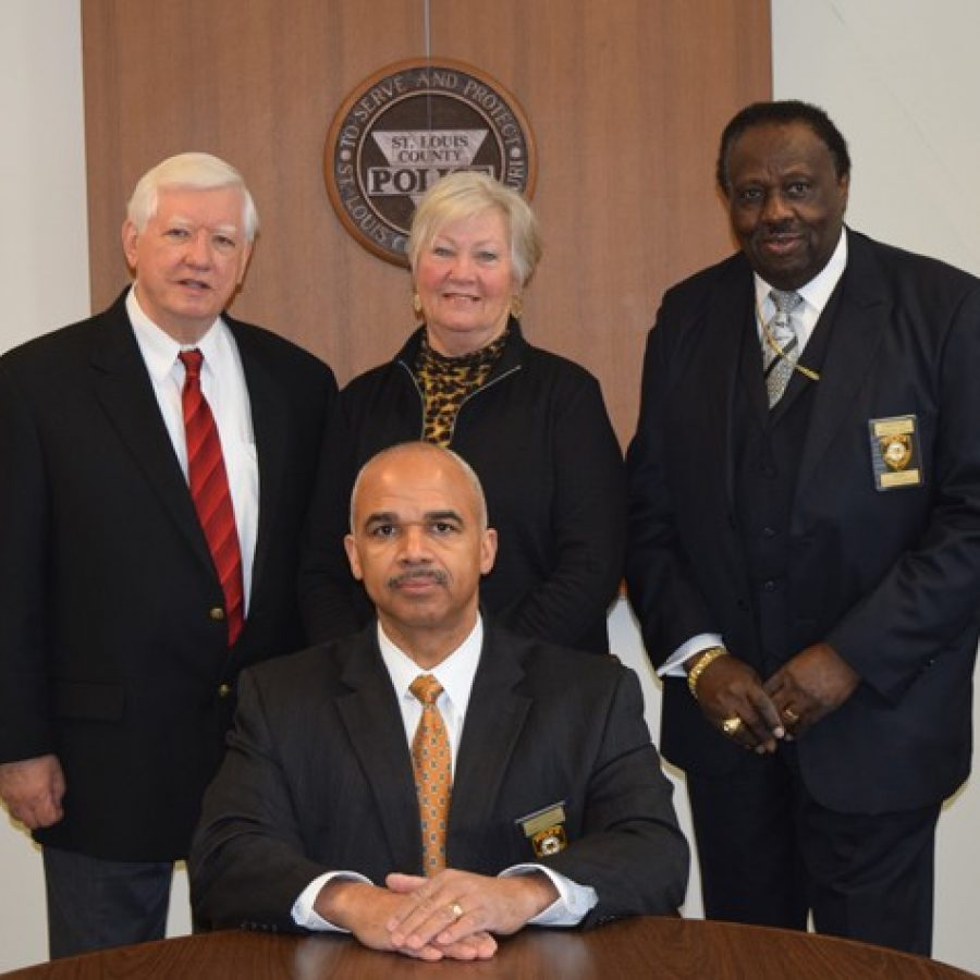 The county Board of Police Commissioners, back left to right: T.R. Carr, Laurie Westfall, Lawrence Wooten. Front: Chairman Roland Corvington.